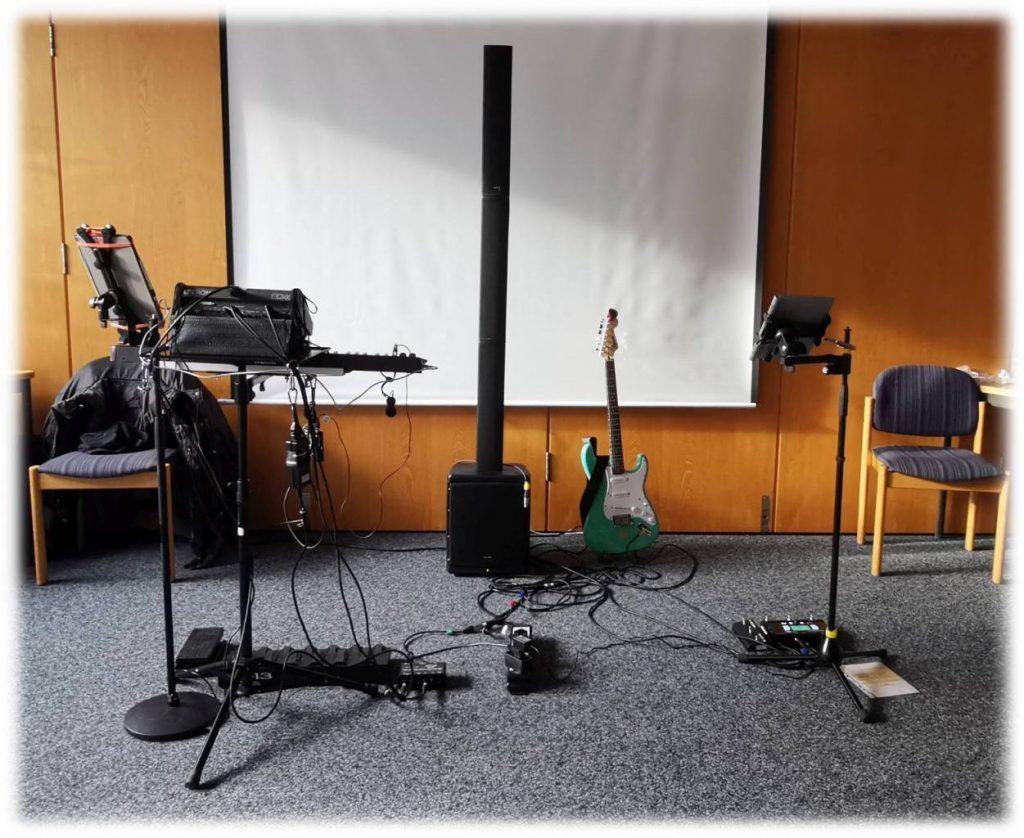 Duo Dulbano - Aktueller Bühnenaufbau (3m x 2m) 2020-01-30